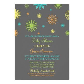 Christmas Colorful Custom Baby Shower Invitations
