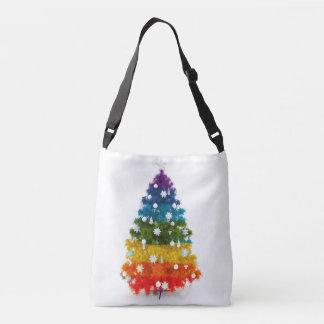 christmas, colorful, rainbow colors, tree crossbody bag