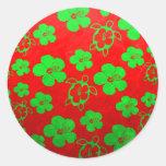 Christmas Colors Hawaiian Honu Classic Round Sticker