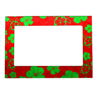 Christmas Colors Hawaiian Honu Magnetic Picture Frame
