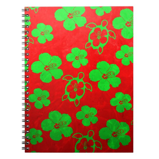 Christmas Colors Hawaiian Honu Notebook