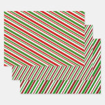 [ Thumbnail: Christmas Colors Lines Pattern Wrapping Paper ]