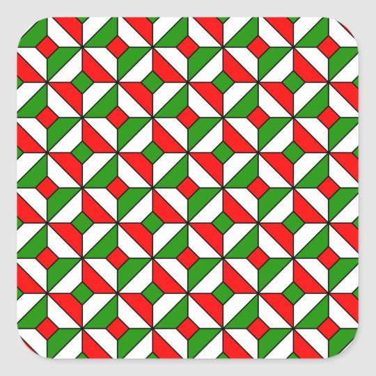christmas colors pattern square sticker