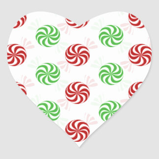 Christmas Colors Peppermint Candy Holiday Heart Sticker