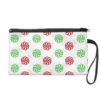 Christmas Colors Peppermint Candy Holiday Wristlet