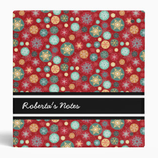 Christmas Colors Red and Green Snowflake Pattern Binder