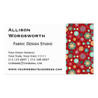 Christmas Colors Red and Green Snowflake Pattern Business Card Template