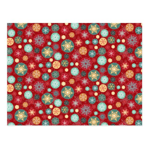 Christmas Colors Red and Green Snowflake Pattern Postcard