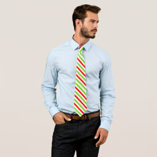 Christmas Colors Red Green Stripes Neck Tie