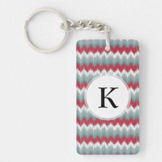 Christmas Colors Tribal ZigZag Ikat Chevron Keychain