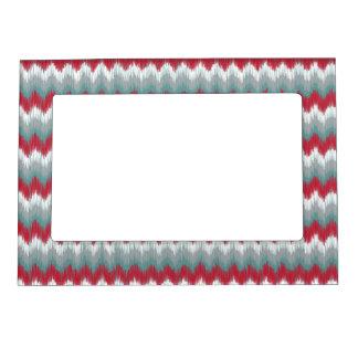 Christmas Colors Tribal ZigZag Ikat Chevron Magnetic Frame