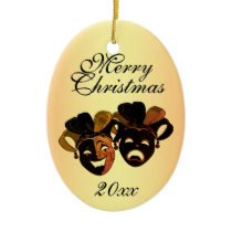 Christmas Comedy and Tragedy Theater Masks Ceramic Ornament