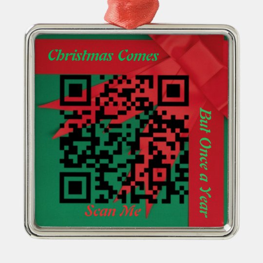 Christmas Comes Once a Year Cartoon QR Ornament