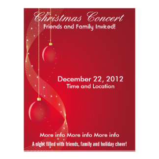 Christmas Concert Red Ornaments Flyer