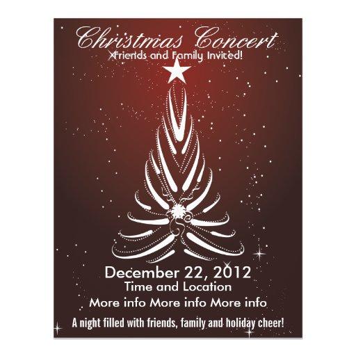 christmas concert white tree flyer zazzle. Black Bedroom Furniture Sets. Home Design Ideas