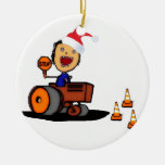 Christmas Construction Double-Sided Ceramic Round Christmas Ornament