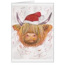 christmas coo Highland Cow with Christmas Hat Card