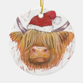 christmas coo Highland Cow with Christmas Hat Ceramic Ornament