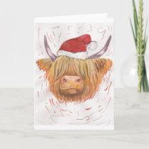 christmas coo Highland Cow with Christmas Hat Holiday Card