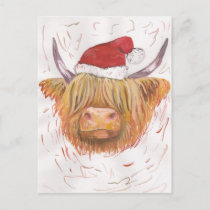 christmas coo Highland Cow with Christmas Hat Holiday Postcard