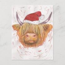 christmas coo Highland Cow with Christmas Hat Holiday Postcard