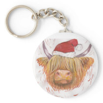 christmas coo Highland Cow with Christmas Hat Keychain