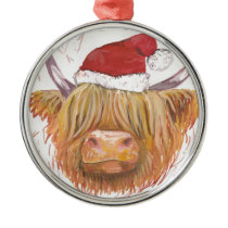christmas coo Highland Cow with Christmas Hat Metal Ornament