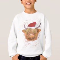 christmas coo Highland Cow with Christmas Hat Sweatshirt