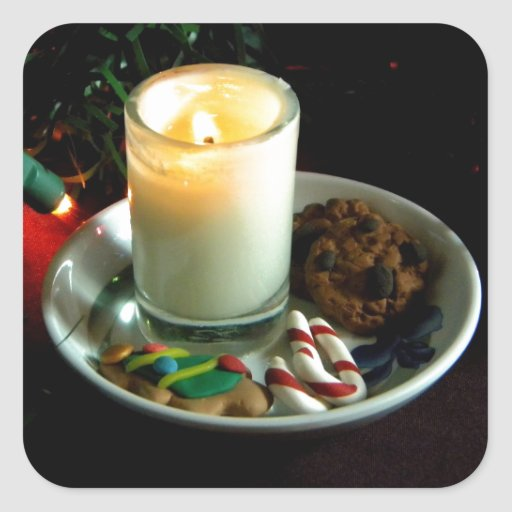 Christmas Cookie Candle IV Square Sticker