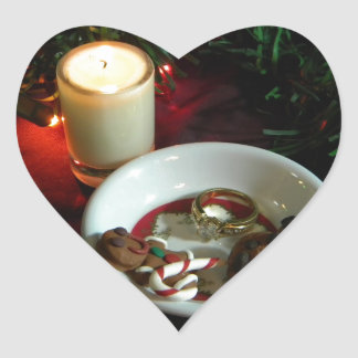 Christmas Cookie Candle V Heart Sticker