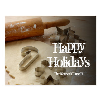Christmas cookie cutters and fresh homemade postcard