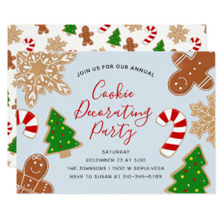 Christmas Cookie Decorating Holiday Party Card