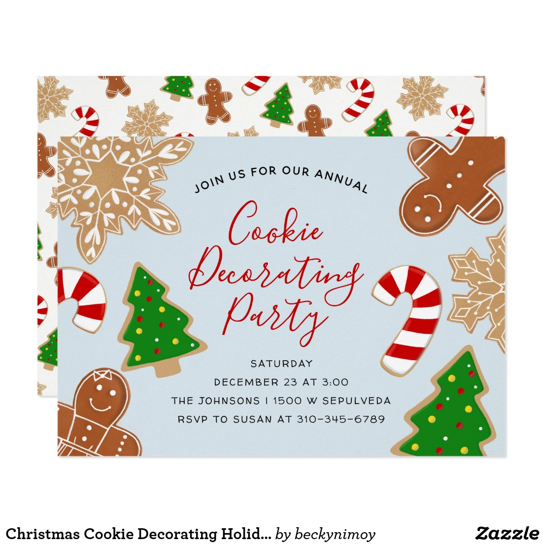Christmas Cookie Decorating Holiday Party Invitation