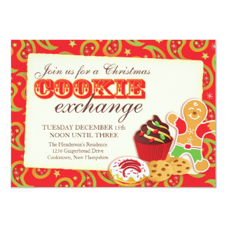 Christmas Cookie exchange & etiquette red invite