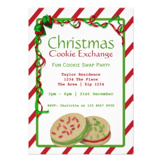 Christmas Cookie Exchange Party Custom Invitations