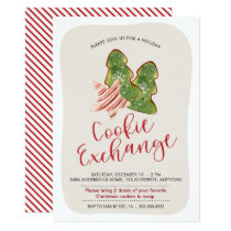 Christmas Cookie Exchange Trendy Watercolor Cookie Invitation