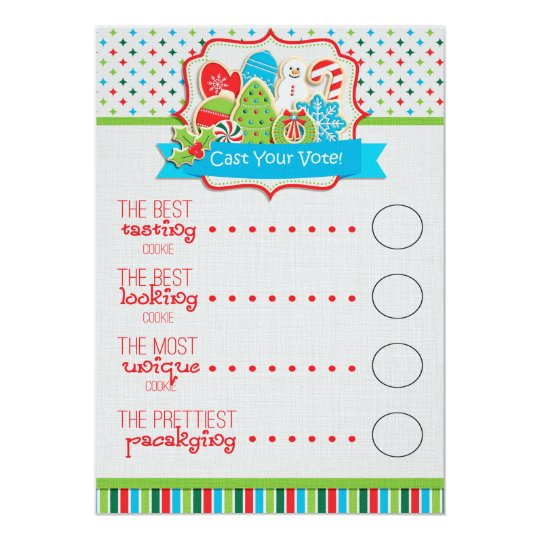 Christmas Cookie Exchange Voting Ballots Card | Zazzle.com
