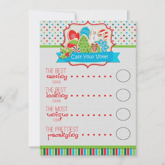 Christmas Cookie Exchange Voting Ballots Holiday Card | Zazzle.com