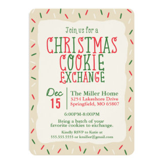 Christmas Cookie Exchange with Sprinkles 5x7 Paper Invitation Card