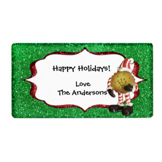 Christmas Cookie Glitter label - green