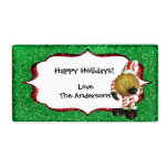 Christmas Cookie Glitter label - green Shipping Label