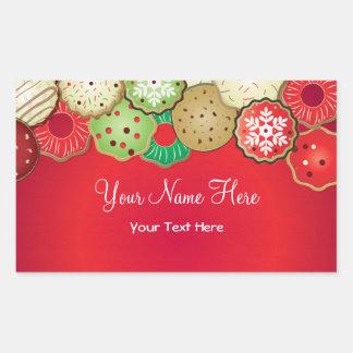 Christmas Cookie Label Rectangular Sticker