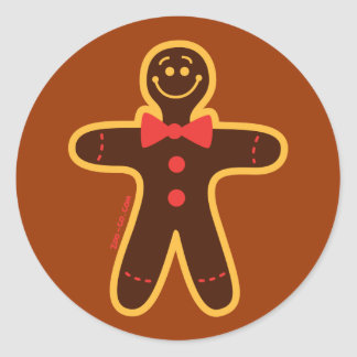Christmas Cookie Man Round Stickers