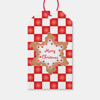 Christmas cookie on red and white checkerboard pack of gift tags