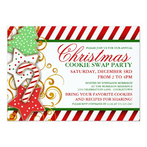 Christmas Cookie Swap Party Invitation 5 X 7 Card Zazzle
