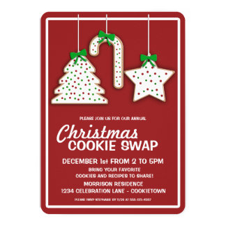 Christmas Cookie Swap (red) Party Invitation