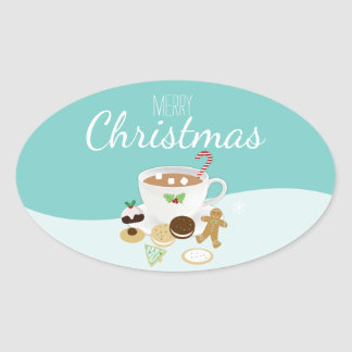 Christmas cookies and hot chocolate holiday oval sticker