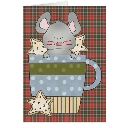 christmas cookies and mouse mug card