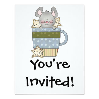 christmas cookies and mouse mug cup personalized invitations