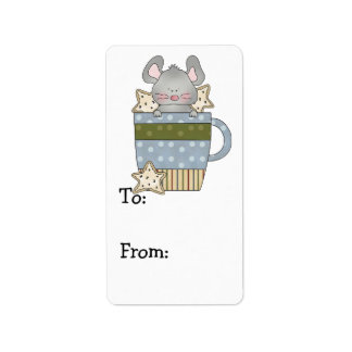 christmas cookies and mouse mug cup personalized address labels